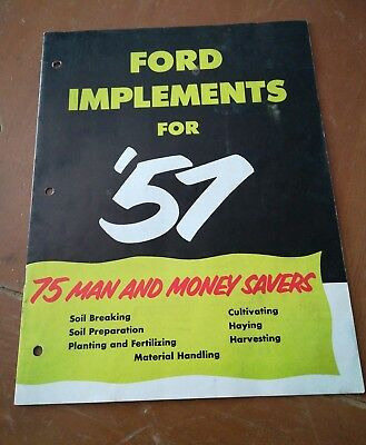 1957 Ford Tractor Implements Sales Brochure VTG RARE
