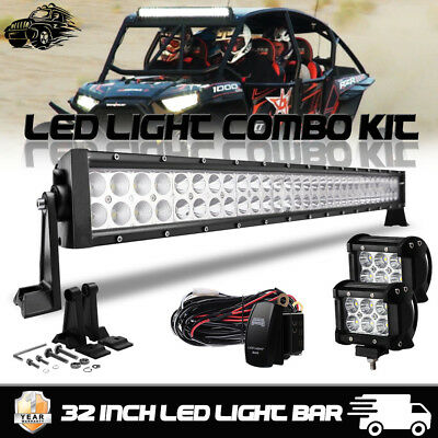 32inch LED Light Bar Combo + 4inch Work Lights Off road Truck Jeep SUV 30
