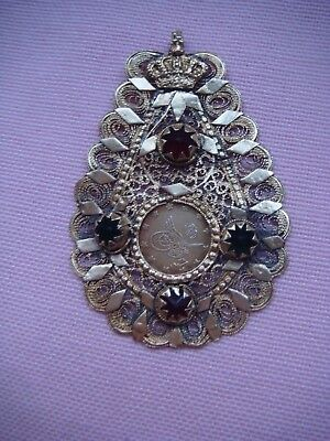 RRRVery Rare Bulgarian Royal Silver Gift Adornment Pendant With Crystals 19th c.