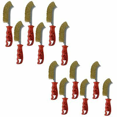 Italian Brass Coated Wire Spid Brush Rust Removal Cleaning Hand Brush 12 Pack