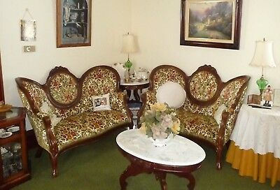 Victorian Kimball Furniture Love Seats Mahogany Rosewood Queen Anne Chair Couch