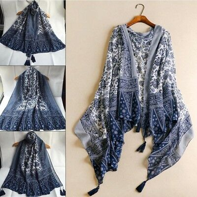 Women Autumn Soft Cashmere Blend Chinese Style Long Tassel Shawl Wrap Scarves