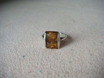 RRR RARE Vintage Antique Art Deco Baltic Amber Lady's Silver Ring-Signed