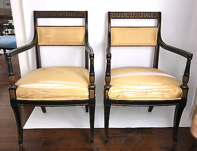 Magnificent Pair Of Antique Black Lacquer Chairs, Gold Leaf Greek Key Design