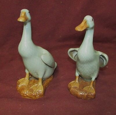Pair Old or Antique Chinese Export Ceramic Duck Figurines Celadon  Marked China