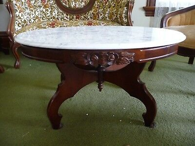 Victorian Kimball Marble Top Coffee, Kimball Antique Furniture