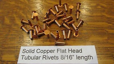 "SOLID COPPER TUBULAR RIVET 100 pcs. 8/16"" LEATHER RIVET SEMI TUBULAR not plated"