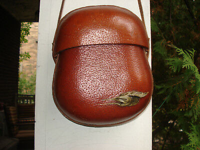 vintage Peter Pinder hard leather canteen-style bag. Unique, one-of-a-kind