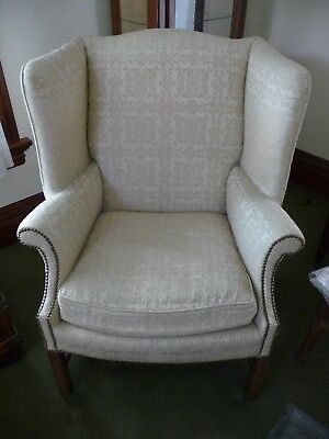 Vintage Wingback Arm Chair White Chippendale Library Furniture Traditional Club