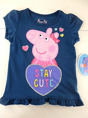 Peppa Pig T-Shirt Toddler Girls Size 4T Short Sleeve Navy Stay Cute NEW