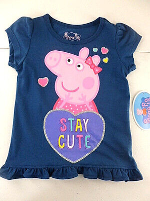 Peppa Pig T-Shirt Toddler Girls Size 5T Short Sleeve Navy Stay Cute NEW
