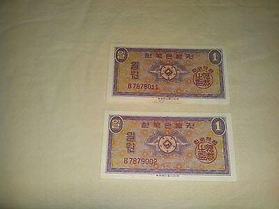 1962 The Bank of Korea 1 Won Banknote. Lot of 2. Almost uncirculated