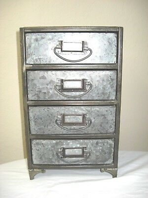 "Desktop Galvanized Industrial Metal Organizer with Four Drawers Hobby Craft 14""H"