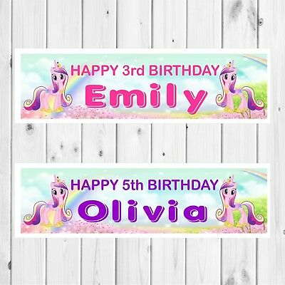 2 PERSONALISED 800 x 297mm MY LITTLE PONY EQUESTRIA GIRLS BANNERS