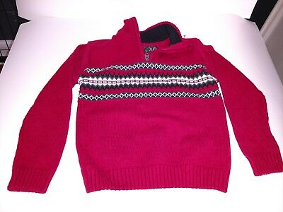 XG Zip Pullover Sweater Boys Size 4 red black grey white pattern cotton