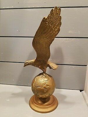 Brass Eagle Statue on Globe 12 inches tall~ Nice patina