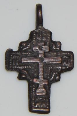 Medieval Byzantine Bronze Pendant Celtic Cross Style Crucifix Orthodox Christian