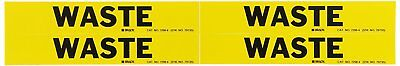 Brady 7298-4 Yellow Vinyl Stickers Pipe Marker, WASTE, 3/4 to 2-3/8 In Pipe