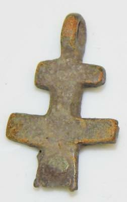 Medieval Byzantine Double Cross Pendant Crucifix Orthodox Christian Reliquary
