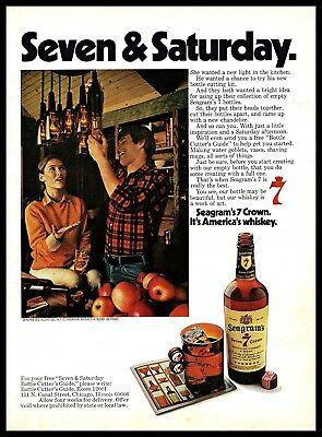 1974 Seagrams Seven Crown American Whiskey Vintage PRINT AD Playful Couple 1970s