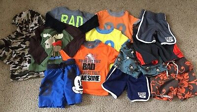 Lot of Boys Clothes 18-24 months and 2T Spring Summer Shorts Shirts outfits Swim