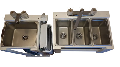 Fully Portable 1/4 Pan Size Small 3 Compartment Table Top Sink & Hand Wash