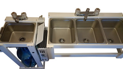 Portable 1/2 Pan Size Large 3 Compartment Table Top Sink & Hand Wash