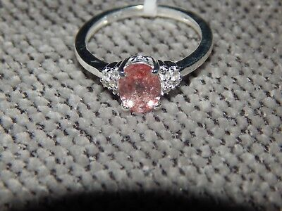 Brazilian Pink Lepidocrocite Natural Quartz&natural Cambodian Zircon Ring-Size M