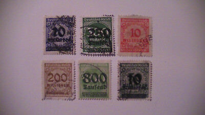 Germany: 6 Early Reich Inflation.used. Better Values. $$$$$$$$$$$$  H/v.