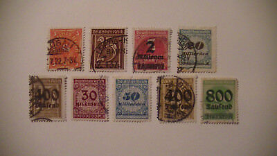 Germany: 9 Reich Inflation Stamps.used. Better Values. $$$$$$$$$$$$ H/v.