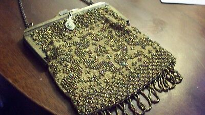 Amber Colored Beaded Bag with Brass Frame