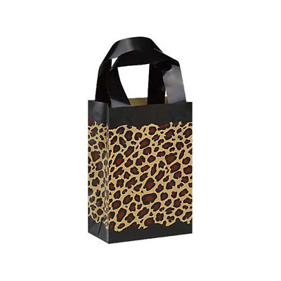 40 Leopard Print Frosted Plastic Handle Bags Gift Party Merchandise Retail 5x3x7