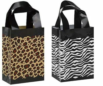 50 Leopard Zebra Print Frosted Plastic Bags Gift Party Merchandise Retail 5x3x7