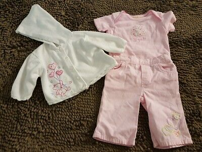 Faded Glory*3pc Pink Spring Outfit*Newborn Baby Girl 0-3mos*EUC