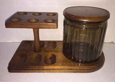 Vintage Decatur Industries Aztec Deco Wood 6 Pipe Stand Tobacco Glass Humidor