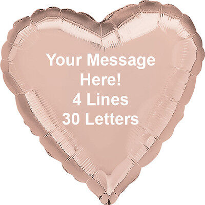 """PERSONALISED 18"""" Heart Foil Helium BALLLOON Your Message - Choice of colours"""