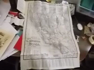1920-30's Folding Clason Mileage Map, California & Nevada For Ford Chrsyler