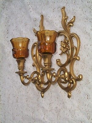 Pair VTG Dart IND Hollywood Regency Hanging Wall Sconce Candle Holders & Votives