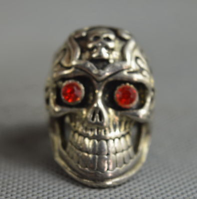 Collectable Handwork Old Miao Silver Carve Ghost Skull Head Exorcism Evil Ring