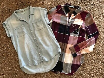 Womens ~MAURICES~ Plaid Denim Shirt Top Blouse Lot ~NWOT~ XS Small