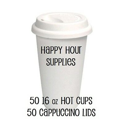 Pack of 50 Paper Coffee Cup / Disposable Hot Cup 16 oz WHITE w/ Cappuccino Lids