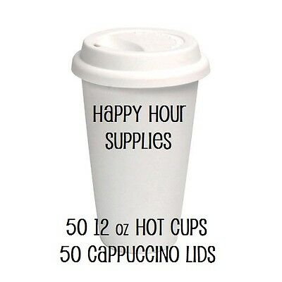 Pack of 50 Paper Coffee Cup / Disposable Hot Cup 12 oz WHITE w/ Cappuccino Lids