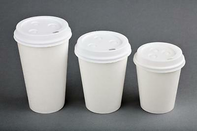 100 Sets 16 oz Paper Coffee Cup Solo Disposable WHITE Hot Cup w/Cappuccino LIDS