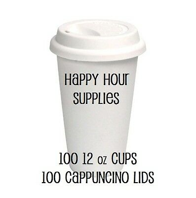 Pack of 100 Paper Coffee Cup / Disposable Hot Cup 12 oz WHITE w/ Cappuccino Lids