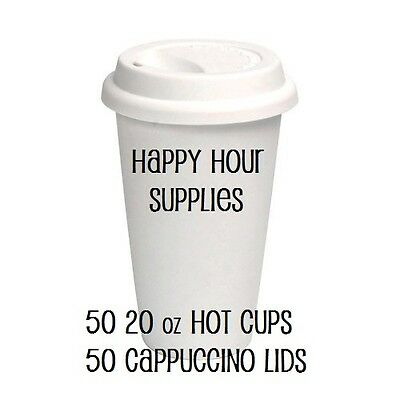 Pack of 50 Paper Coffee Cup / Disposable Hot Cup 20 oz WHITE w/ Cappuccino Lids
