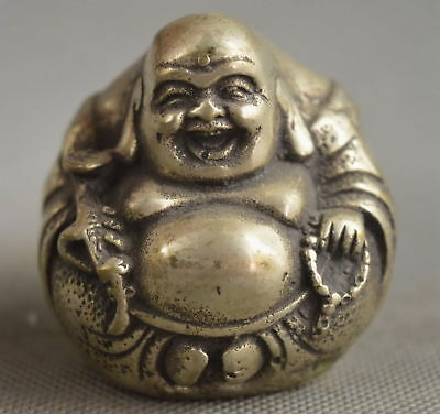 Collectable Handwork Old MIao Silver Carving Buddha Hold Ruyi Auspicious Statue