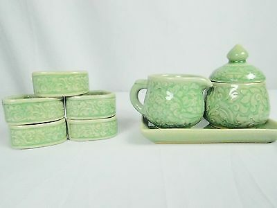 Green Embossed Sugar Creamer Tray Napkin Rings Celadon Hand Made in Thailand