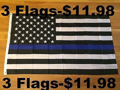 3 Flags - Thin Blue Line American Flags Blue Lives Matter Law Enforcement 3x5ft