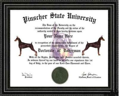 Doberman Lover's Doctorate Diploma / Degree Custom made and Designed for you