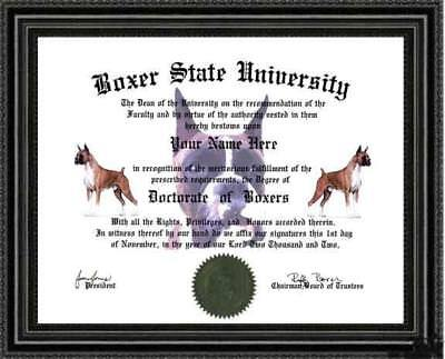 Boxer Lover's Doctorate Diploma / Degree Custom made & Designed for you UNIQUE